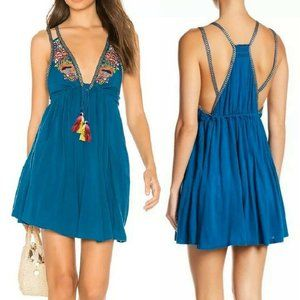 Free People Lovers Cove Mini Dress Embroidered